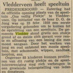 "Krantenartikel over officiële opening speeltuin ""Ons Veilig Plekje"", 22 mei 1960 (bron: onbekend)"