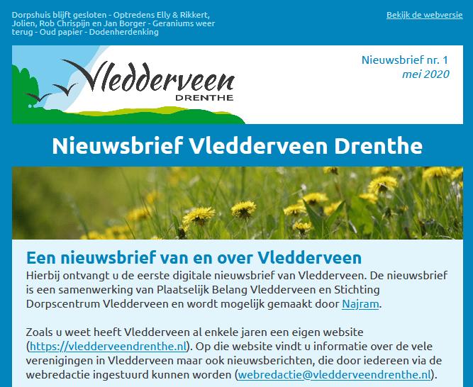 Een nieuwsbrief van en over Vledderveen